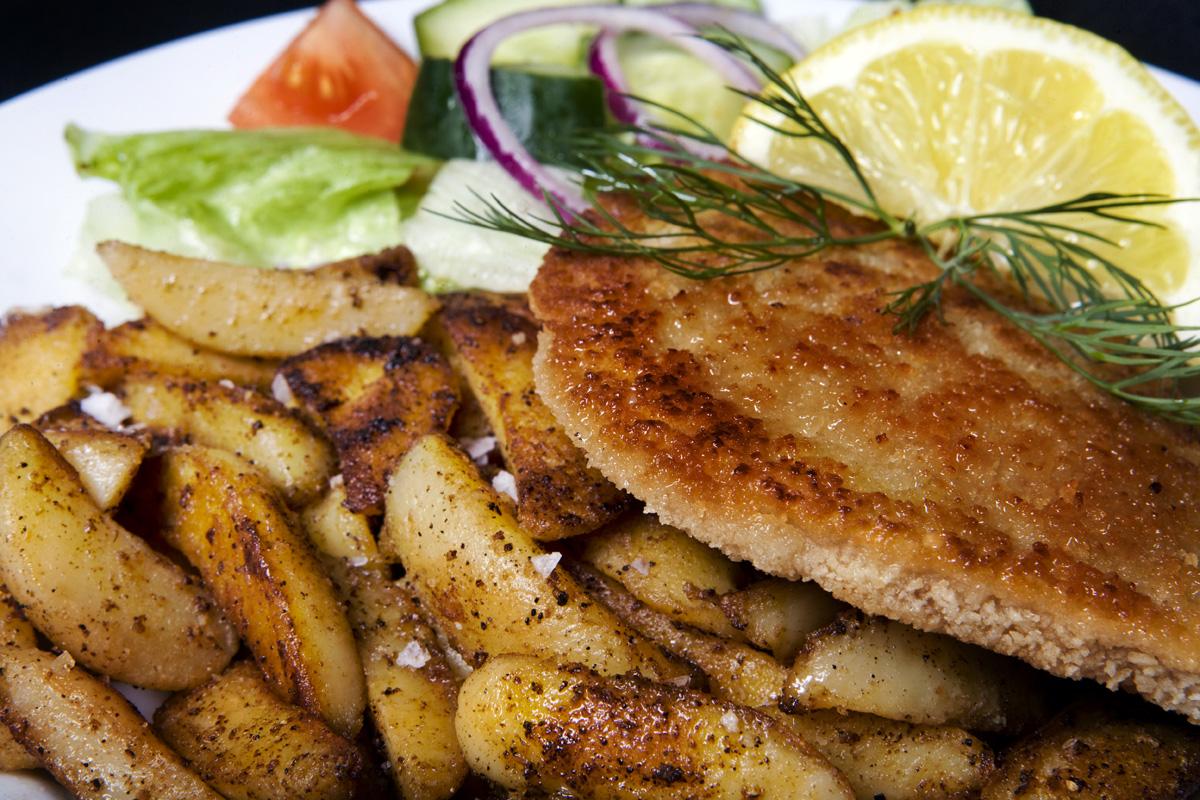 Schnitzel och potatis