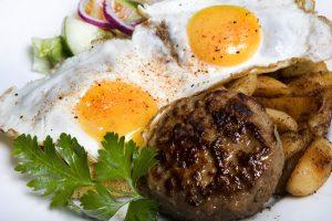 Pannbiff ägg och potatis